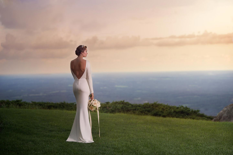 Angela Kim Couture Mermaid Wedding Dress at Sunset
