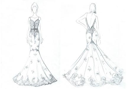 Angela Kim Couture Original Bridal Gown Sketch