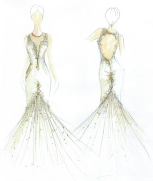 Angela Kim Couture Illusion Wedding Dress Sketch