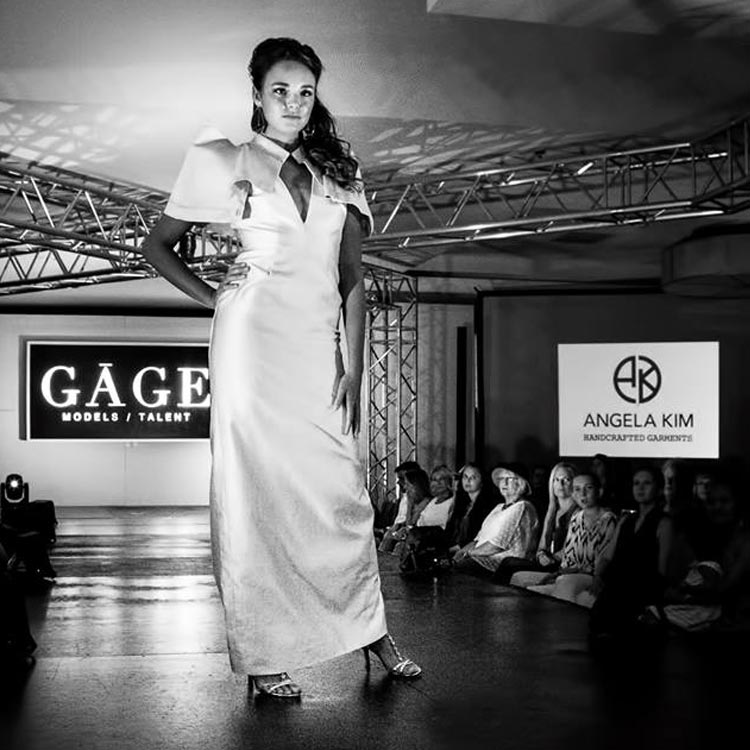 Angela Kim Designs batwing ball gown at Asheville Fashion Week