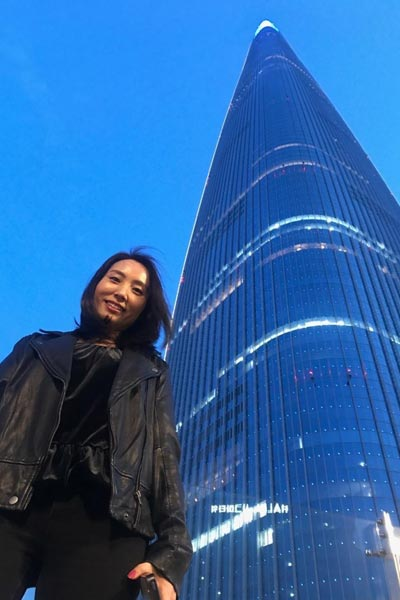 Angela Kim at the Lotte Tower in Seoul
