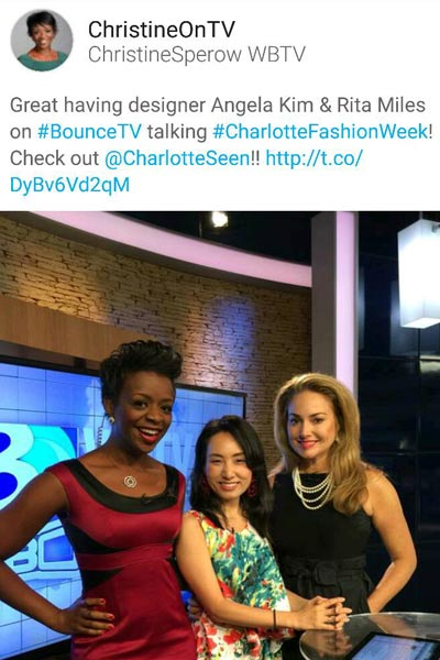Angela Kim with Christine Sperow from WBTV Charlotte