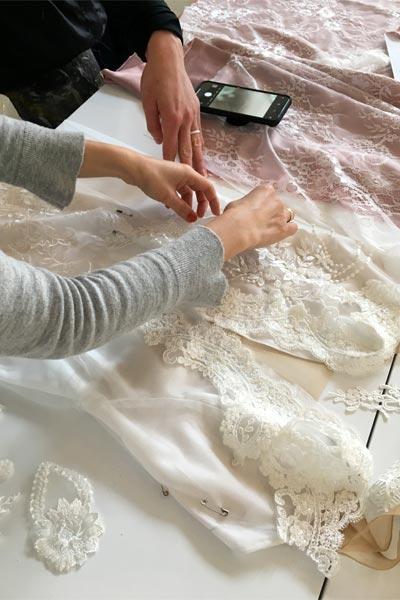 Choosing fabrics for a custom wedding dress by Angela Kim