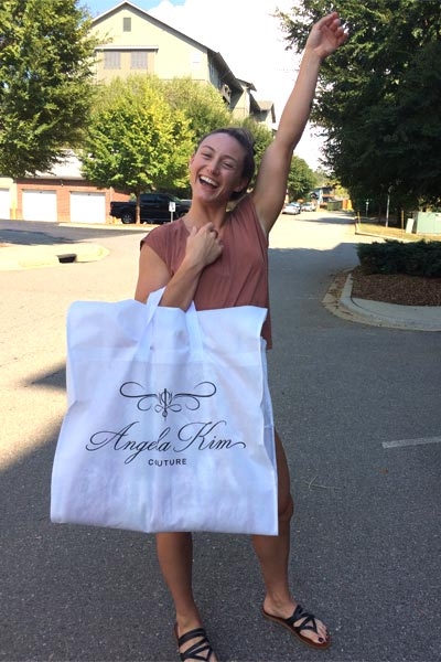 A happy Angela Kim Couture bride